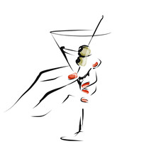 Female Hand With Glass Of Alcoholic Cocktail. Hand-drawn Illustration. Vector