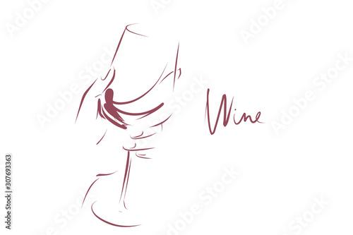 Carta da parati Glass of wine in woman's hand