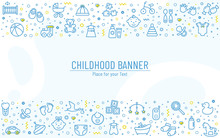 Baby Banner With Line Icons. V...