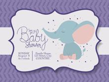 Baby Shower Invitation With El...