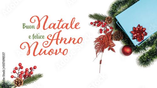 Banner con auguri natalizi in stile classico  indicante Buon Natale e felice an Canvas Print