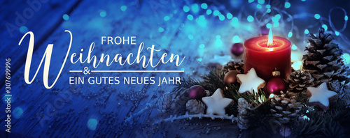 Christmas Card -  German text  -  Merry Christmas and Happy New Year - 307699996