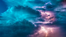 Fantastic Sky With Colorful Clouds During Thunderstorm