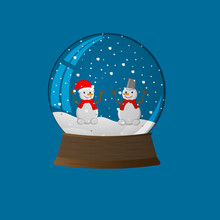A Snow Globe With Two Cute Sno...