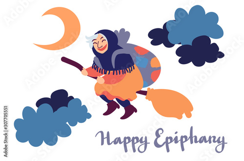 Happy Epiphany greeting card template with handwritten lettering, old witch flying on a broom in the night to bring presents Fotobehang