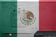 Mexico Flag Depicted On Side Part Of Military Armored Truck Closeup. Army Forces Conceptual Background