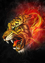 Art Of  Powerful Tiger In The ...