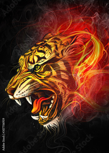 art-of-powerful-tiger-in-the-midst-of-fire-digital-art-style-illustration-painting