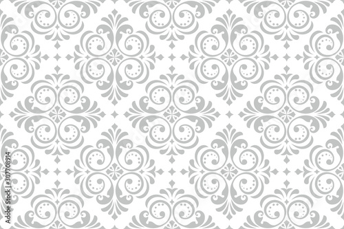 Obraz Floral pattern. Vintage wallpaper in the Baroque style. Seamless vector background. White and grey ornament for fabric, wallpaper, packaging. Ornate Damask flower ornament. - fototapety do salonu