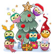 Cartoon Owls near the Christmas tree