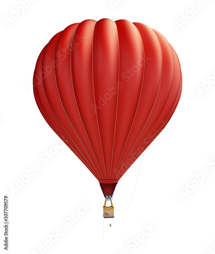 Photo hot air balloon red on a white background 3D illustration, 3D rendering