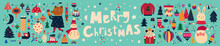 Christmas Decorative Banner With Incredible Characters In Vintage Style