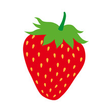 Red Strawberry.  Juicy Strawberry On White Isolated Background.