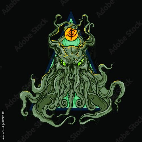 Fotografie, Tablou Vector hand drawn illustration of octopus or cthulhu sea monster, vector illustr