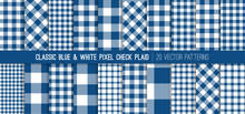 Classic Blue Gingham Plaid Vec...