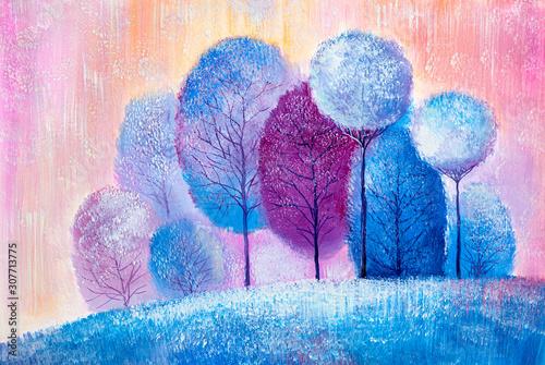 Obraz Zimowy las - abstrakcyjny obraz malowany na płótnie - fototapety do salonu