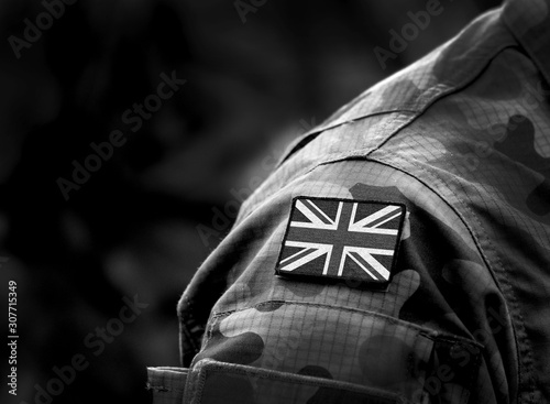 Fototapeta Flag of United Kingdom on military uniform