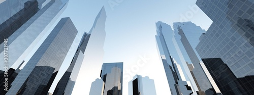 Skyscrapers, high-rise buildings, beautiful view from below against the sky. 3d rendering. - 307721945