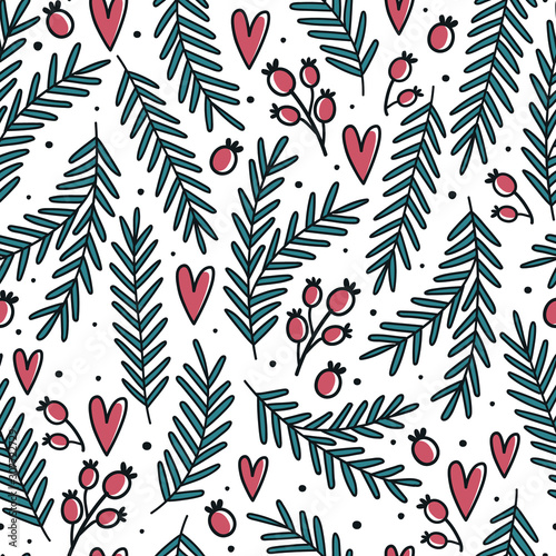 Fototapety, obrazy: Christmas seamless pattern with holly leaves and berries. Doodle style
