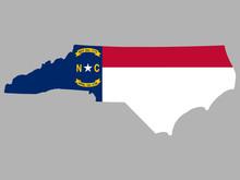 North Carolina Map Flag Vector