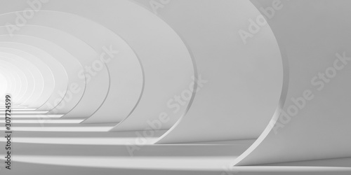 Fototapeta Abstract white tunnel interior 3d