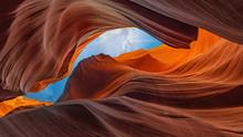 Abstract Background Panoramic Antelope Canyon, Page, Arizona, USA- Travel Concept