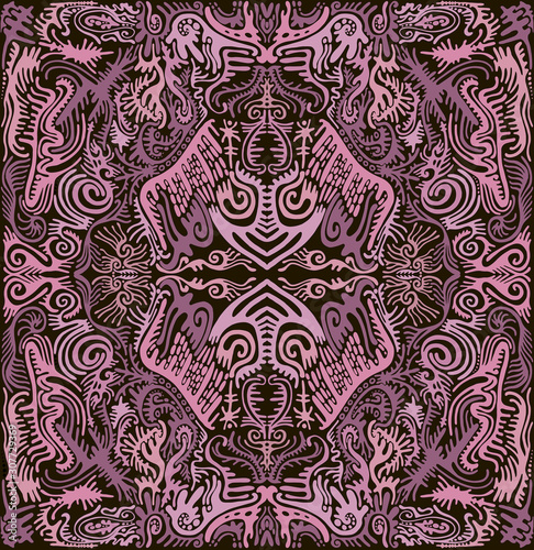Abstract mandala with original patterns, lilac and ashen violet color contour on a dark brown background Canvas Print