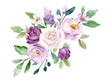 canvas print picture - Violet flowers watercolor, floral clip art. Bouquet roses perfectly for printing design on invitations, cards, wall art and other. Botanical illustration isolated on white background. Hand painting.