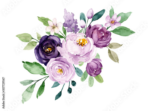 Violet flowers watercolor, floral clip art. Bouquet roses perfectly for printing design on invitations, cards, wall art and other. Botanical illustration isolated on white background. Hand painting.