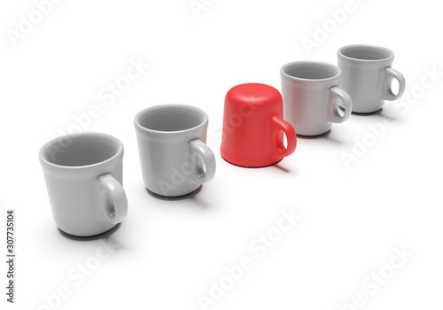 Obraz Individual cup isolated on a white background - fototapety do salonu