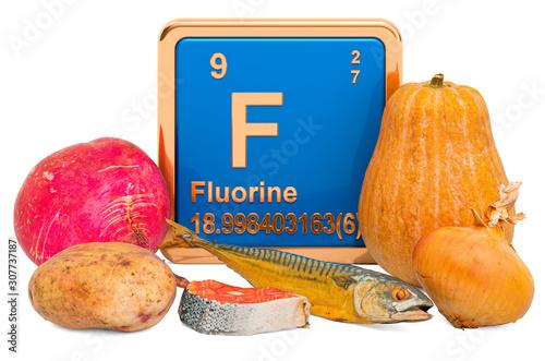 Foods Highest in Fluorine, 3D rendering