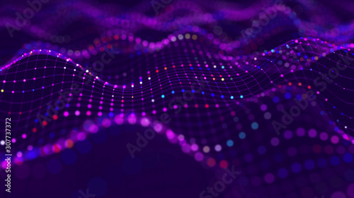 Futuristic dots background. Color music sound waves. Big data visualization. 3d rendering.