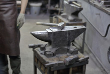 Heavy Metal Anvil In The Forge For Forging Handmade Products
