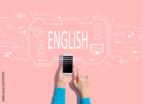 English concept with person using a white smartphone