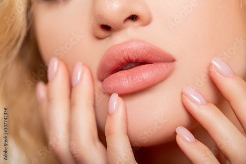 Beautiful lips Close-up Wallpaper Mural