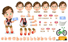 Cartoon Tourist Girl Constructor For Animation. Parts Of Body: Legs, Arms, Face Emotions, Hands Gestures, Lips Sync. Full Length, Front, Three Quarter View. Set Of Ready To Use Poses, Objects.