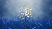Glowing Flowers And Blue Grass. Fantasy Landscape. Abstract 3d Render.