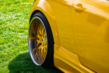 Close Up On Yellow Sports Car ...
