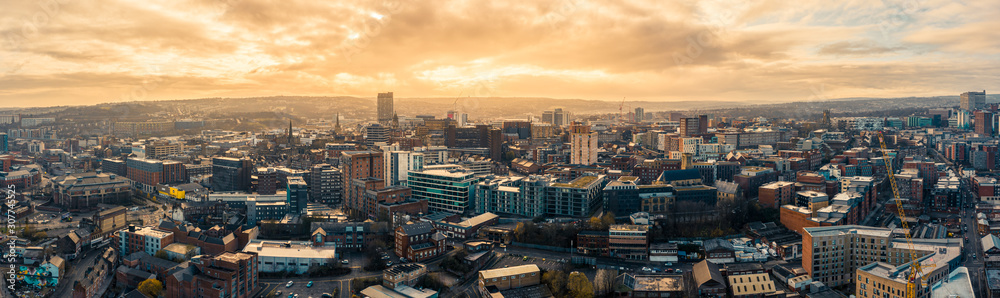 Obraz Aerial Panoramic view above Sheffield City during a cold frosty winter morning fototapeta, plakat