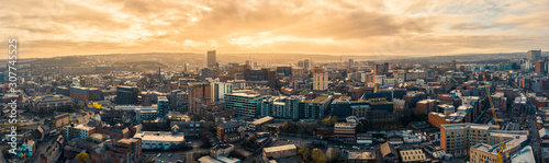 Aerial Panoramic view above Sheffield City during a cold frosty winter morning - 307745525