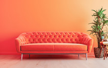 Vivid Living Room Lush Lava Interior Wall Mock Up With Bright Orange Sofa, Empty Wall With Free Space Above On Top, 3D Render, 3D Illustration