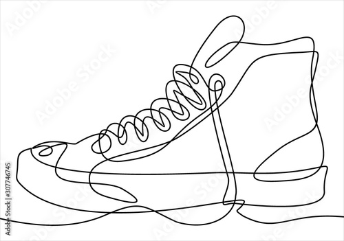 Continuous one line drawing sneakers Fototapeta
