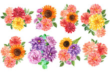 Big Set Of Flowers, Watercolor Illustration, Botanical Painting, Beautiful Multi-colored Flower Bouquets, Flora Design, A Large Collection Of Dahlias, Sunflowers, Carnations