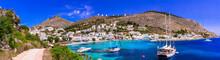 Amazing Authentic Greece - Leros Island, Panteli Village ,view Of Beautiful Bay With Sailing Boats