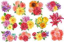 Set Of Flowers Bouquets, Watercolor Illustration, Botanical Painting, Floral Design, Large Collection Of Dahlias, Sunflowers, Carnations, Lilies, Red Anemone, Yellow Roses, Lavender