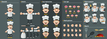 Cartoon Cook, Chef Man Constructor For Animation. Parts Of Body: Legs, Arms, Face Emotions, Hands Gestures, Lips Sync. Full Length, Front, Three Quarter View. Set Of Ready To Use Poses, Objects