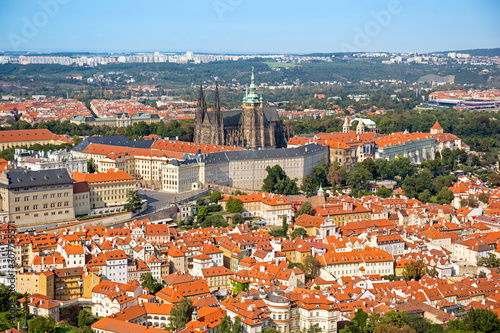 Prague aerial panoramic cityscape with Prague castle in Prague, Czech Republic Wallpaper Mural