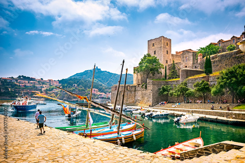 Canvas Prints Ship Royal Castle (The Chateau Royal de Collioure), a massive French royal castle, and the harbour in the town of Collioure, France