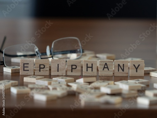 epiphany the word or concept represented by wooden letter tiles Canvas