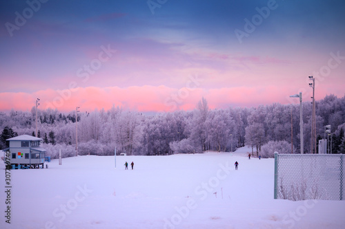 People cross country skiing in the stadium at Kincaid Park ski area or venue in Canvas Print